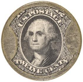 Encased Postage Stamp 12 Cents J. GAULT - RIBBED