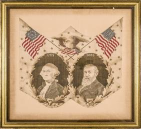 1889 Benjamin Harrison Presidential Campaign Textile