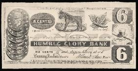 1837 HUMBUG GLORY BANK 6 Cents Political Note