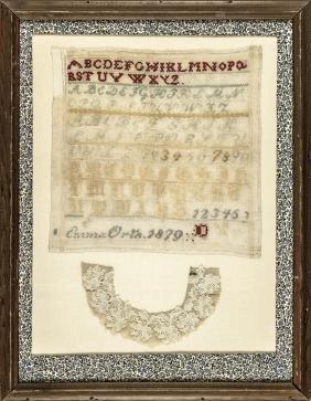 1879-Dated Hand-Wrought Needlework Sampler