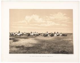 c 1870s Lithograph Print HALF BREED HUNTERS CAMP