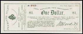 1872 Advertising Note Plymouth Pulpit Sermons NY