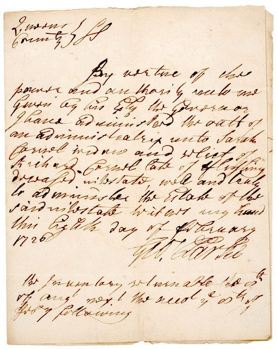 4008: GEORGE CLARKE, Signed Document 1726