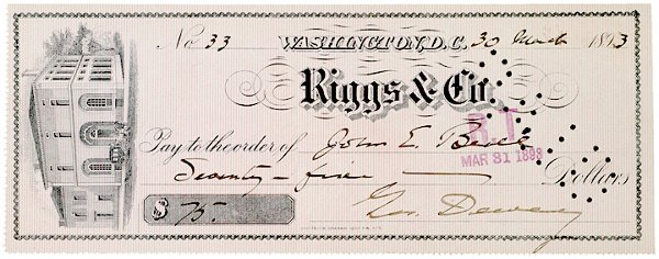 4011: Check Signed by GEORGE DEWEY, 1893