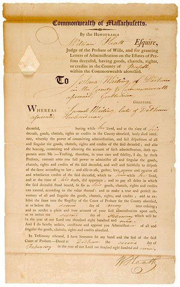 4015: WILLIAM HEATH, Legal Document, 1809