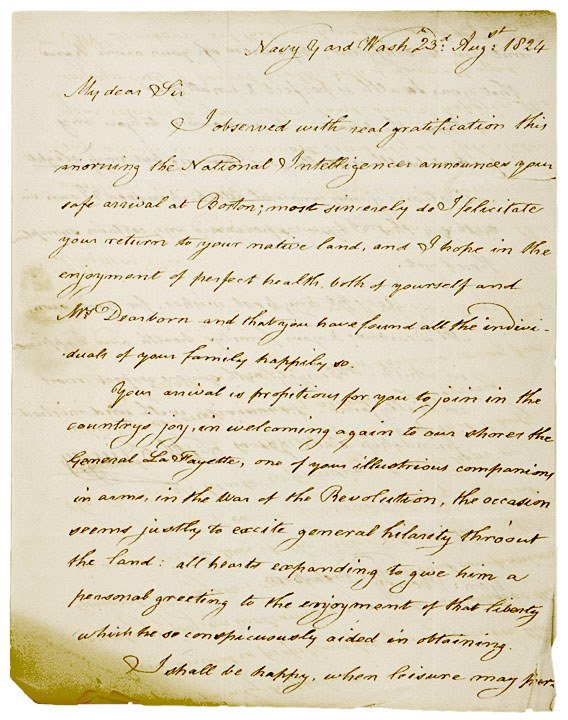 4018: 1824 Letter about LAFAYETTE returning to U.S.