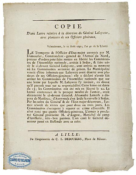 4019: French Revolution LAFAYETTE Wanted Circular