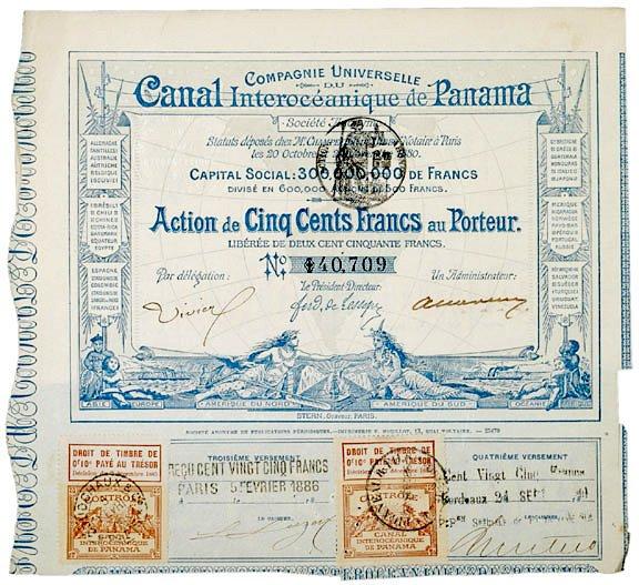 4021: Original 1880 Panama Canal Bond Certificate