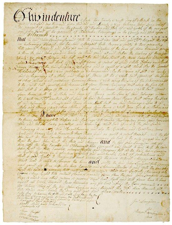 4022: 1779 Revolutionary War Era NY Land Indenture