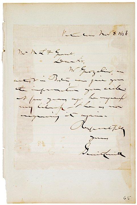 4024: Abolitionist GERRIT SMITH Autograph Letter Signed