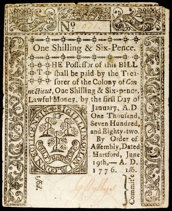 4241: Colonial Currency, CT, June 19, 1776, 1s6d