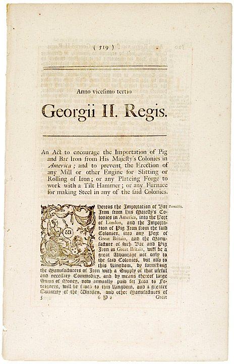 5002: ACT Regarding Restriction of Trade, 1750 British