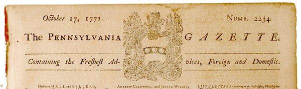 5005: PENNSYLVANIA GAZETTE, 1771, Benjamin Franklin
