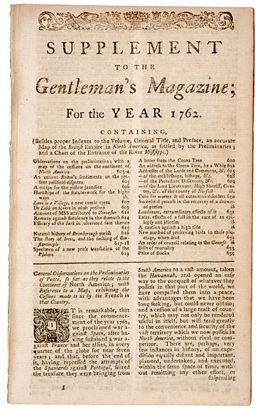 5011: 1762, Supplement to THE GENTLEMANS MAGAZINE