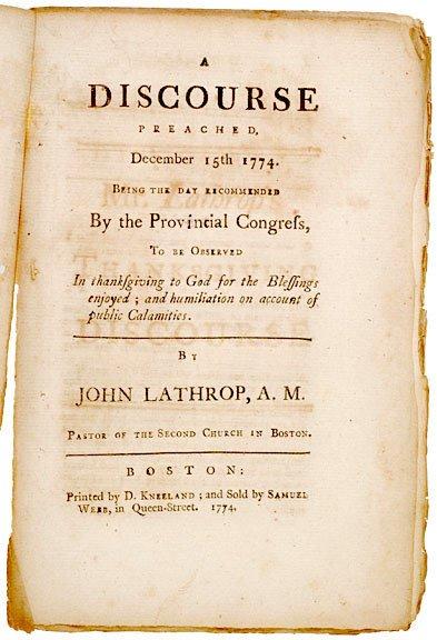 5014: 1774 Boston Sermon THANKSGIVING DISCOURSE