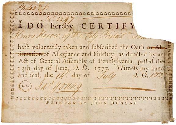 5019: Revolutionary War Oath of Allegiance