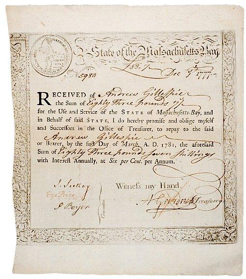 5020: 1777 Treasury Receipt Massachusetts-Bay