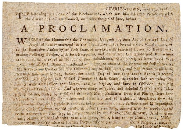 5021: AMNESTY PROCLAMATION, South Carolina 1778
