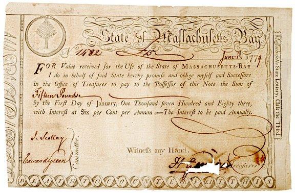 5022: 1779 Massachusetts Bay Treasury Loan Certificate