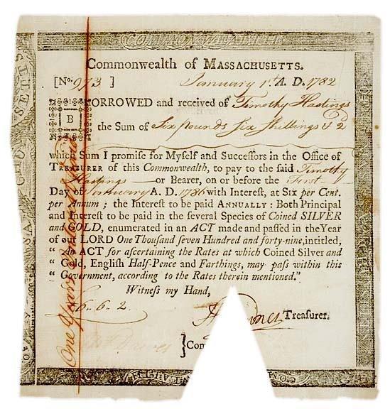 5030: Revolutionary War Era Six-Percent Bond, 1782