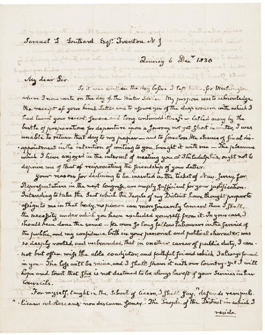Extraordinary JOHN QUINCY ADAMS Political Letter