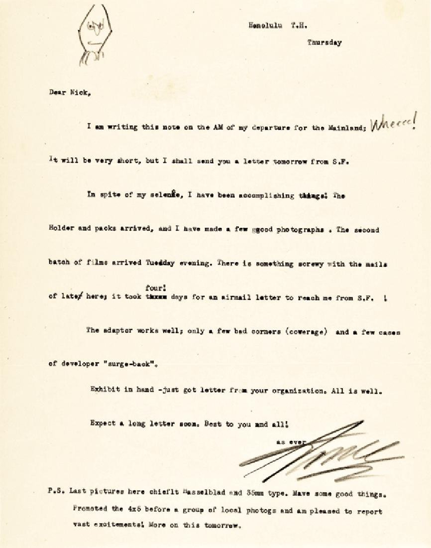 ANSEL ADAMS Signed Letter with Self Portrait