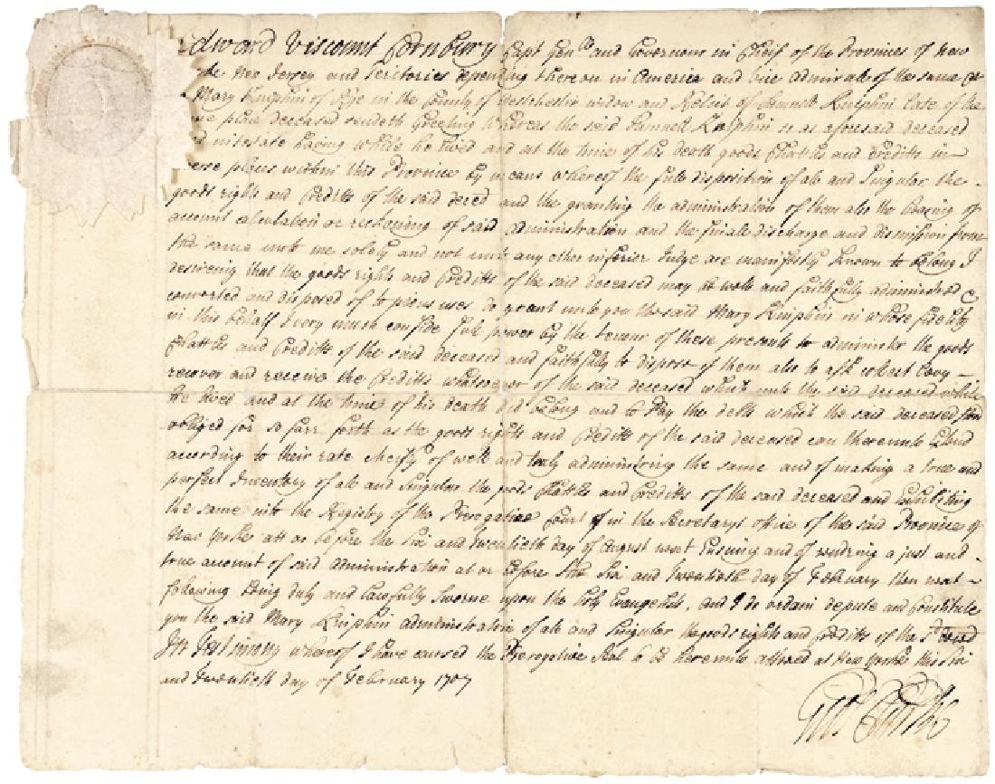 1707 GEORGE CLARKE NY Manuscript Document Signed