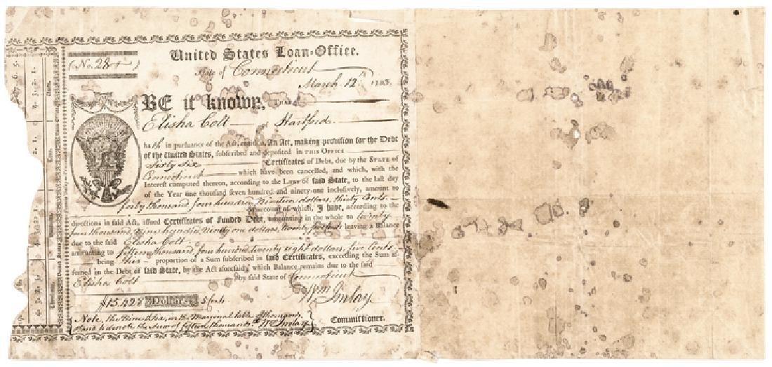 1793 United States Loan-Office Bond, Elisha Colt