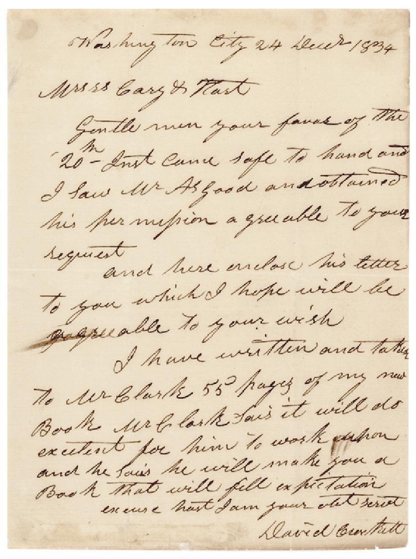 1834 DAVID DAVY CROCKETT Autograph Letter Signed