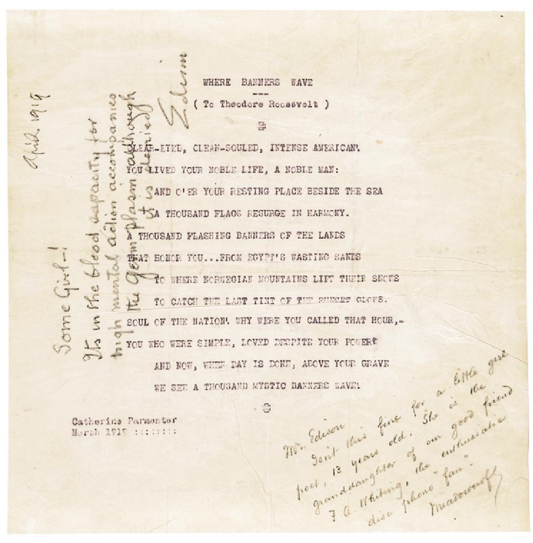 1919 THOMAS ALVA EDISON Autograph Note Signed