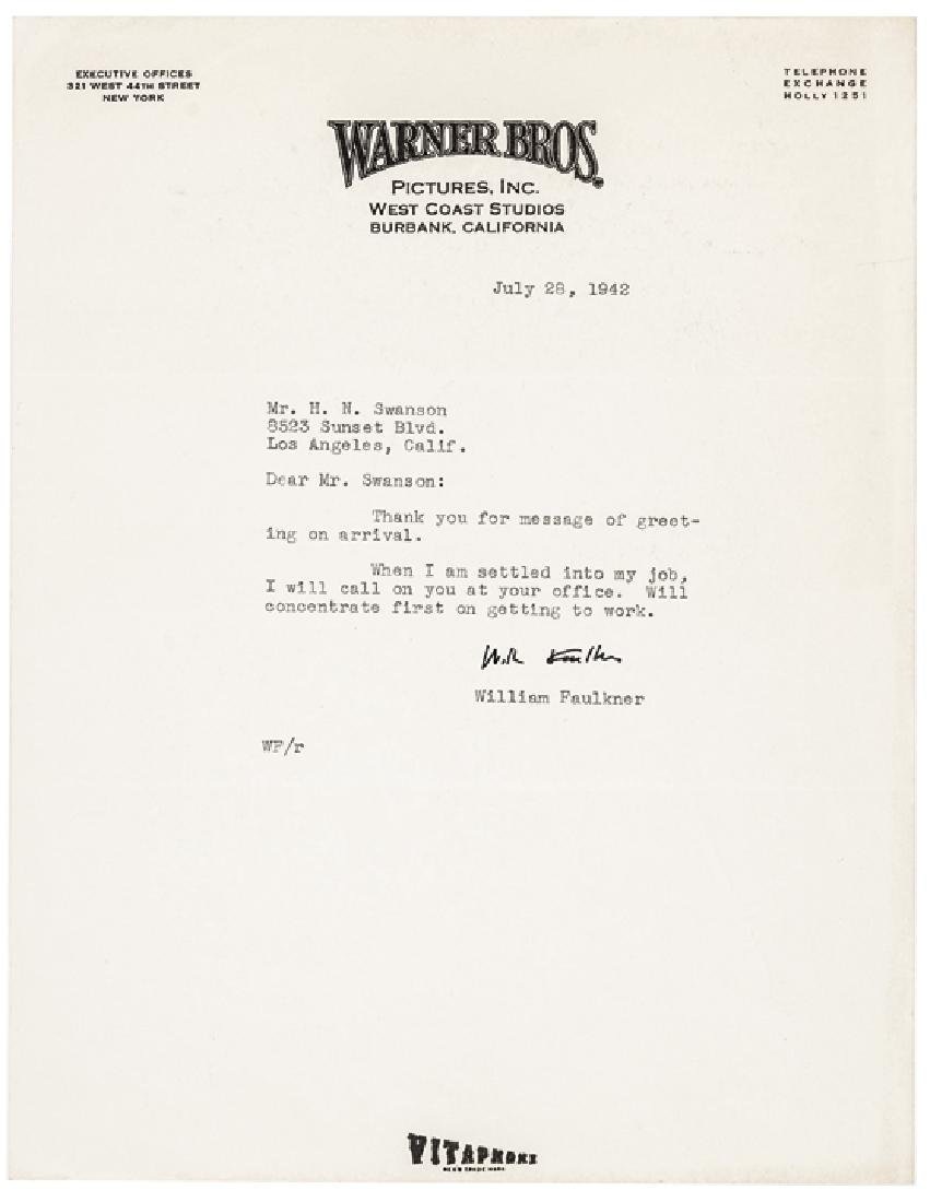 1942 Typed Letter Signed by WILLIAM FAULKNER