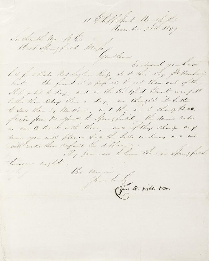 CYRUS W. FIELD, Signature On Letter Dated 1849
