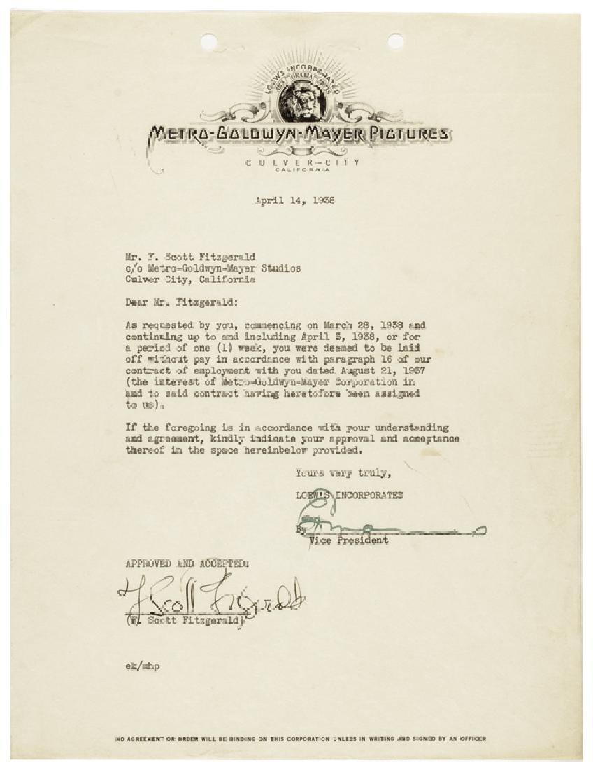 F. SCOTT FITZGERALD Autograph Typed Document