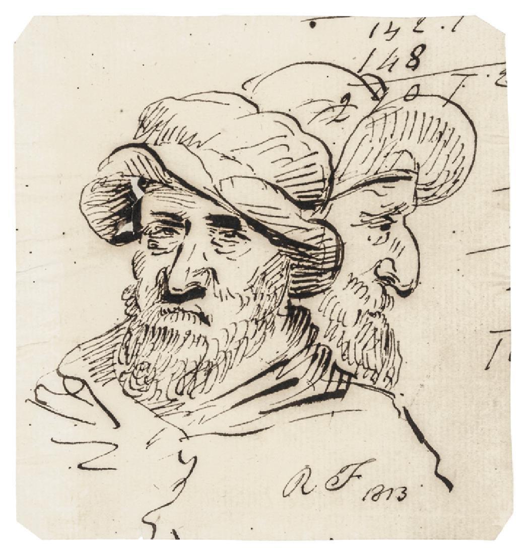 Two Original Hand-Drawn ROBERT FULTON Sketches
