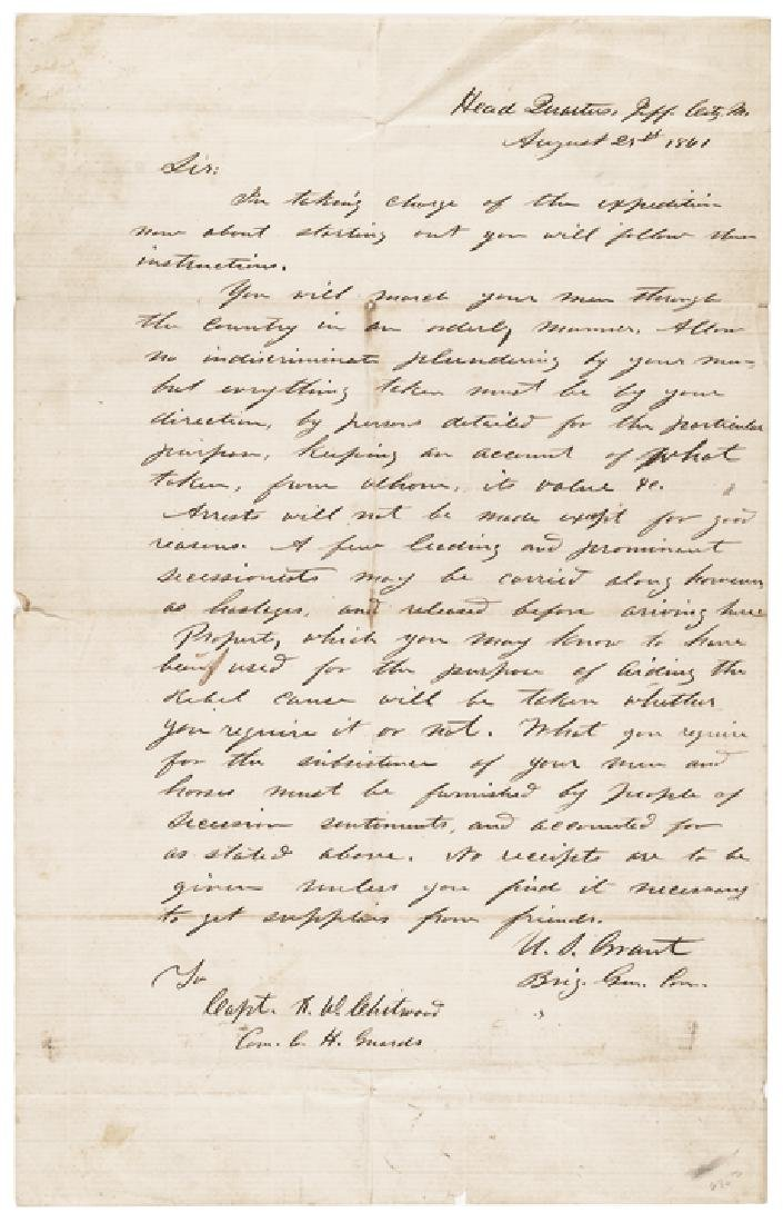 1861 Autograph Letter Signed ULYSSES S. GRANT