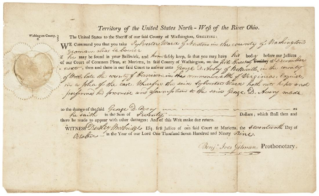 1799 Early Northwest Territory Legal Document