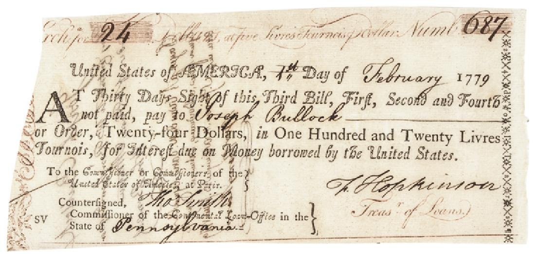 1779 Signer FRANCIS HOPKINSON Document Signed