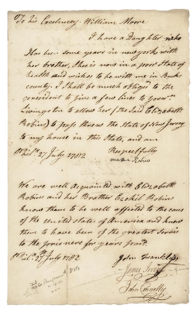 JAMES IRVINE Revolutionary War Document Signed