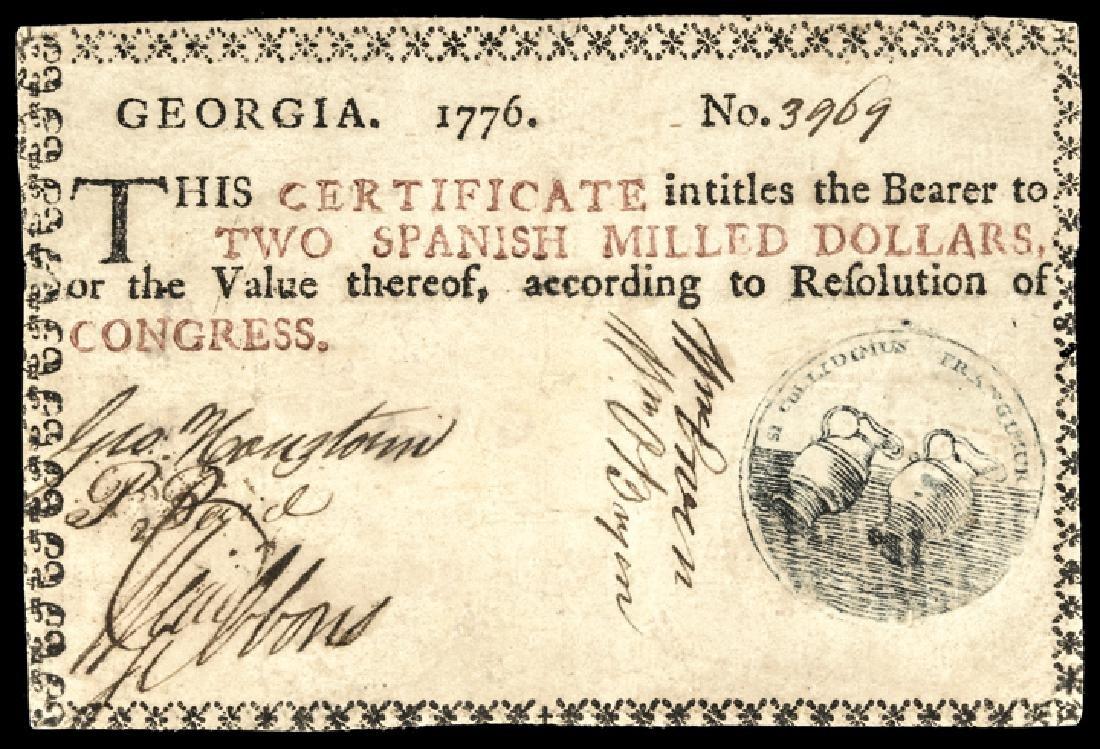 Colonial Currency GA 1776 Blue Seal Floating Jugs