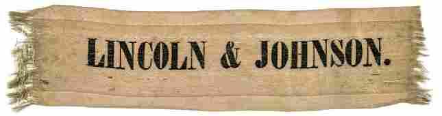 LINCOLN & JOHNSON 1864 Presidential Silk Ribbon