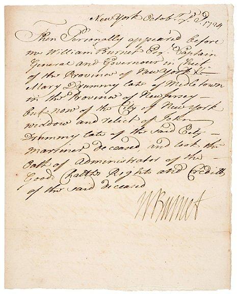 7: WILLIAM BURNET Signed Document 1724