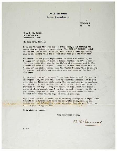 12: RICHARD E. BYRD Signed Letter, 1933