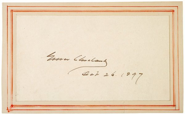 14: Card Signed GROVER CLEVELAND