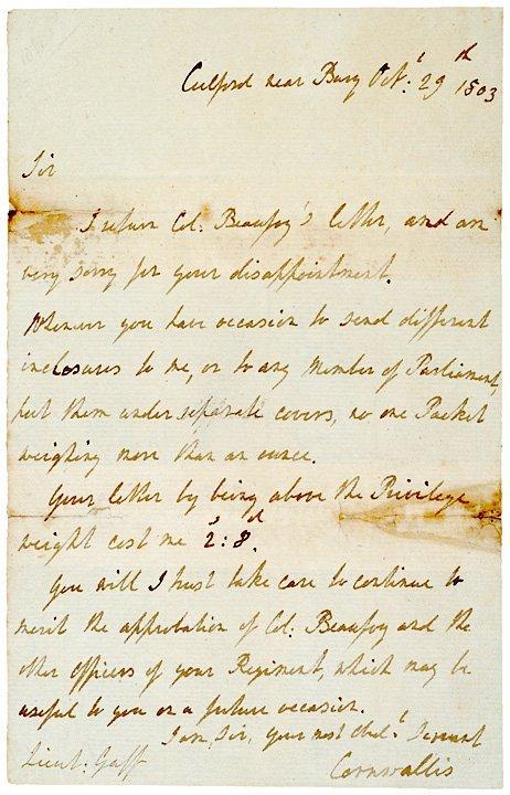 16: Handwritten Letter Signed CHARLES E. CORNWALLIS