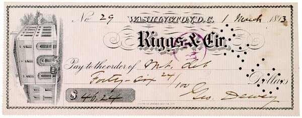 21: GEORGE DEWEY, Naval Officer, Signed Check