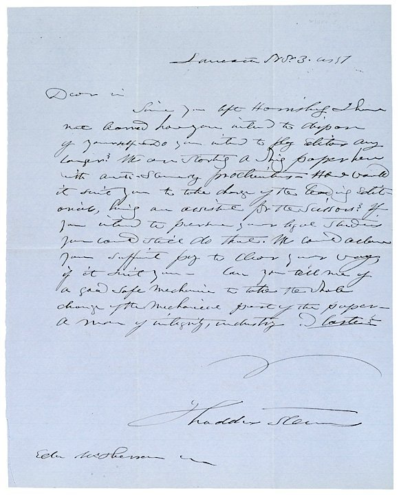 92: THADDEUS STEVENS, Letter and Free Frank