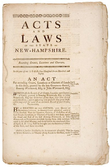 158: Acts and Laws, 1780,  New Hampshire
