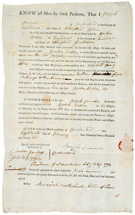 1792 Revolutionary War Depreciation Account Doc