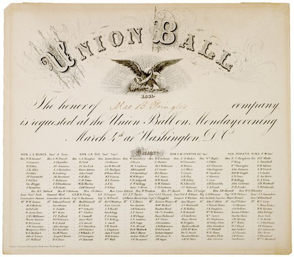 319: Invitation to Miss Palmer for Lincolns Ball 1861