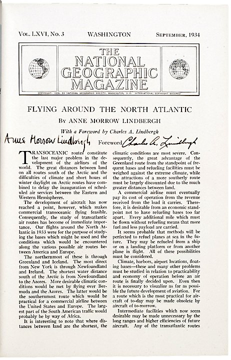 2012: CHARLES & ANNE LINDBERGH, Printed Article Signed - 2